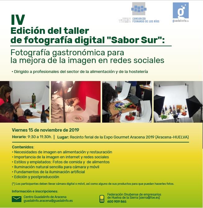 Invitación a participar Taller gratuito de Fotografía Gastronómica en Aracena (Huelva)